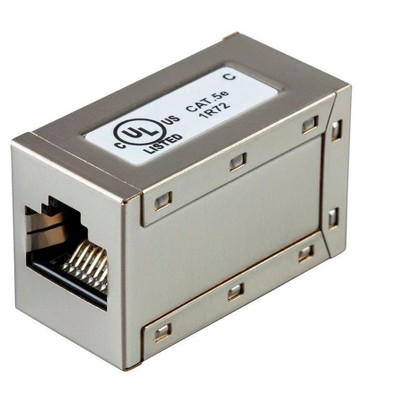 Monoprice Shielded Straight Through Cat5e RJ45 In-Line Coupler - Silver Use for Networking, Patch Cables, Ethernet Cable/Chord