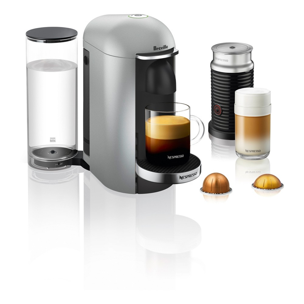 Nespresso VertuoPlus Silver Deluxe Bundle by Breville, Light Silver 53030045