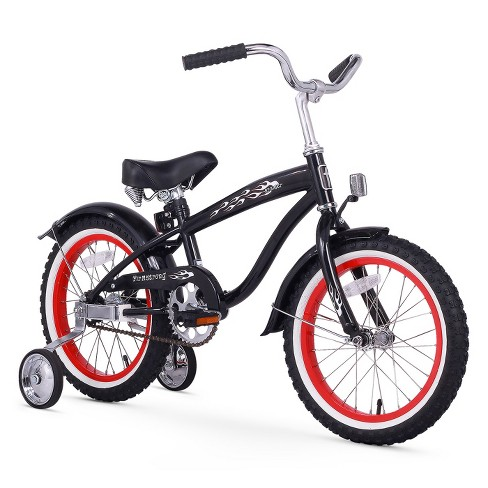"""Firmstrong Mini Bruiser 16"""" Kids' Cruiser Bike with Training Wheels - Black with Red Rims - image 1 of 4"""