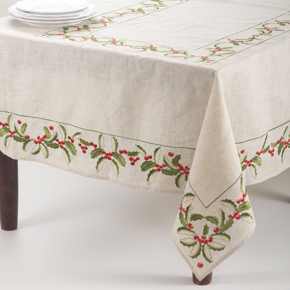 """67"""" Embroidered Holly Design Tablecloth Natural Saro Lifestyle"""