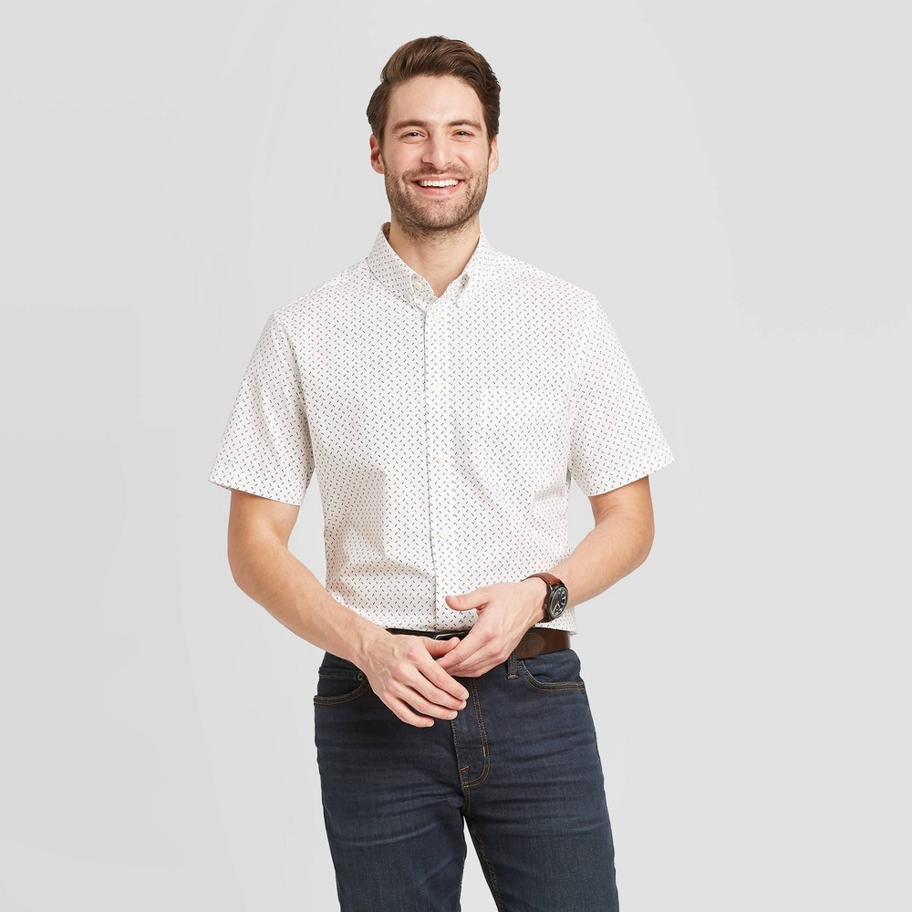 Men's Polka Dot Slim Fit Short Sleeve Poplin Button-Down Shirt - Goodfellow & Co True White M was $19.99 now $12.0 (40.0% off)