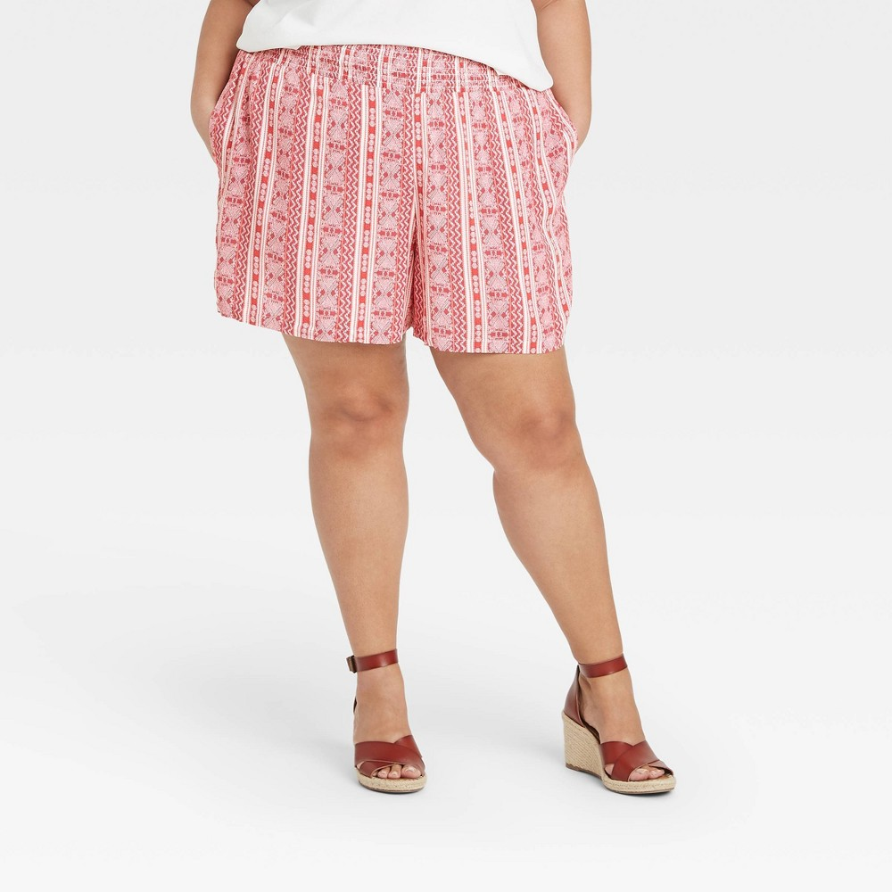 Women 39 S Plus Size Striped Smocked Waist Pull On Shorts Knox Rose 8482 Red 3x