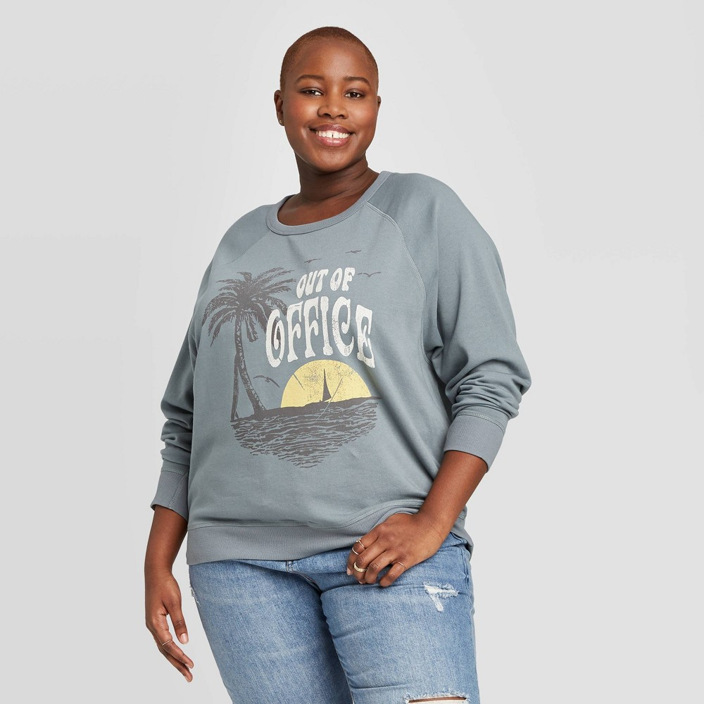 Women's Plus Size Out of Office Graphic Sweatshirt - Grayson Threads (Juniors') - Blue 3X was $19.99 now $13.99 (30.0% off)