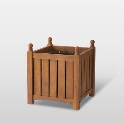 """14"""" Wooden Lexington Square Planter Teak - DMC Products"""