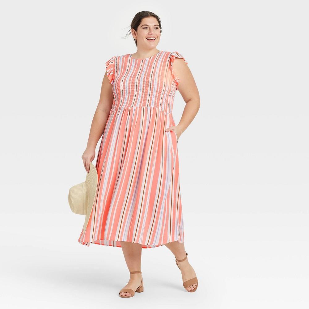 Women 39 S Plus Size Striped Sleeveless Smocked Dress A New Day 8482 Orange 2x
