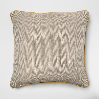 Woven Herringbone Oversized Square Pillow With Gold Piping Beige - Threshold™