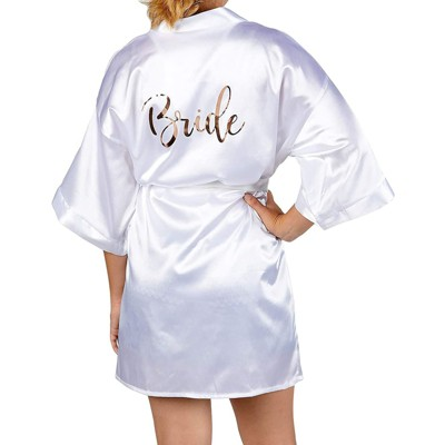 Sparkle and Bash White Wedding Satin Kimono Robe for Bride, Rose Gold Letters (X-Small to Small)