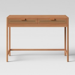 Minsmere Wood Writing Desk with Caned Drawers Brown - Opalhouse™
