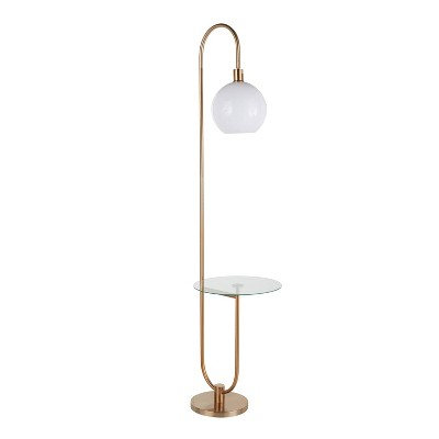 Trombone Contemporary/Glam Floor Lamp with Metal and Glass Shelf Gold (Includes LED Light Bulb) - LumiSource