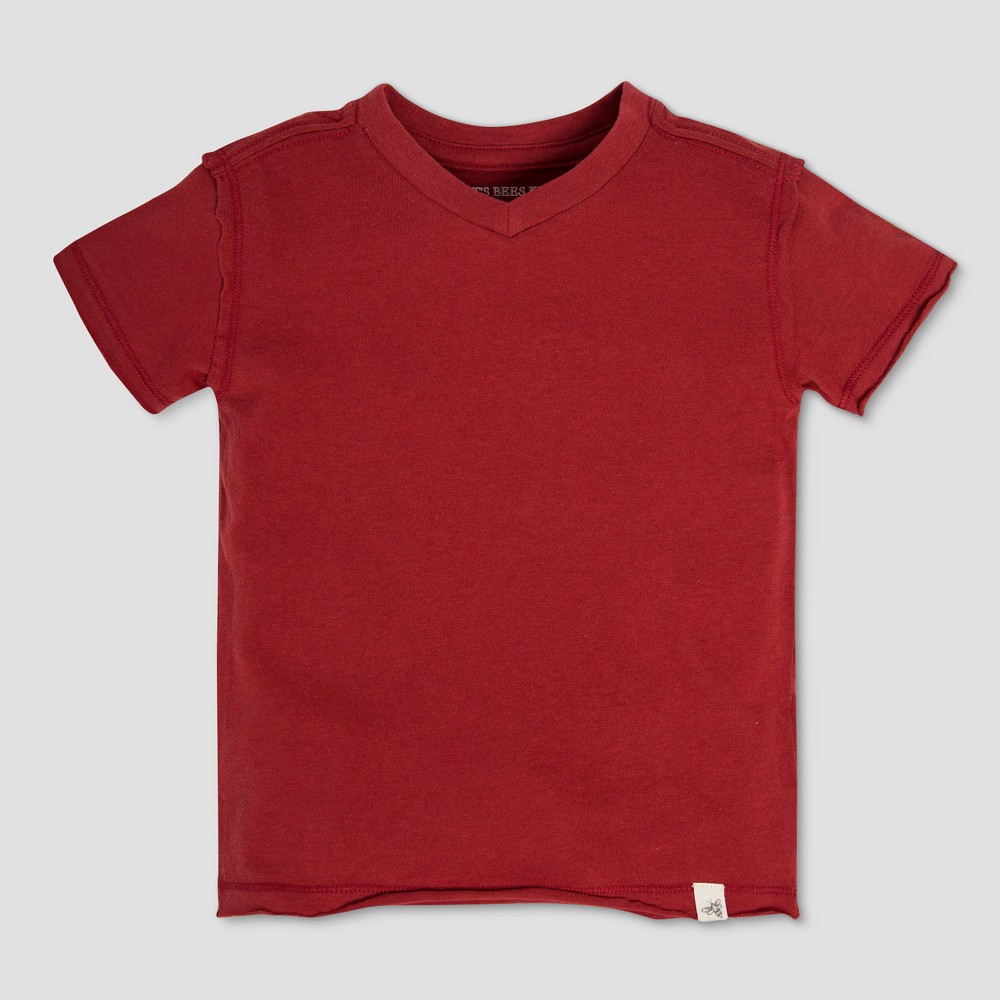 Burt's Bees Baby Toddler Boys' Cotton Solid High V Short Sleeve T-Shirt - Red 6