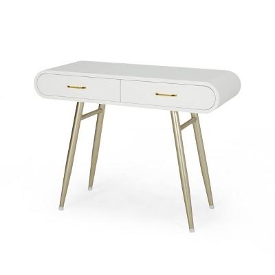 Dehaviland Modern Wood Vanity Table White/Champagne Gold - Christopher Knight Home
