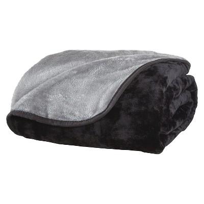 All Seasons Reversible Plush Blanket (King)Black/Gray