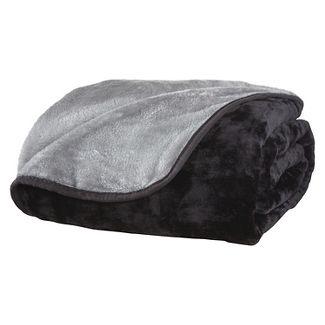 All Seasons Reversible Plush Blanket (King) Black/Gray