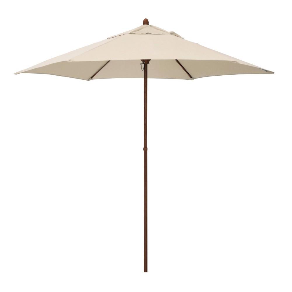 9 39 X 9 39 Round Wood Grain Steel Patio Umbrella Antique Beige Astella