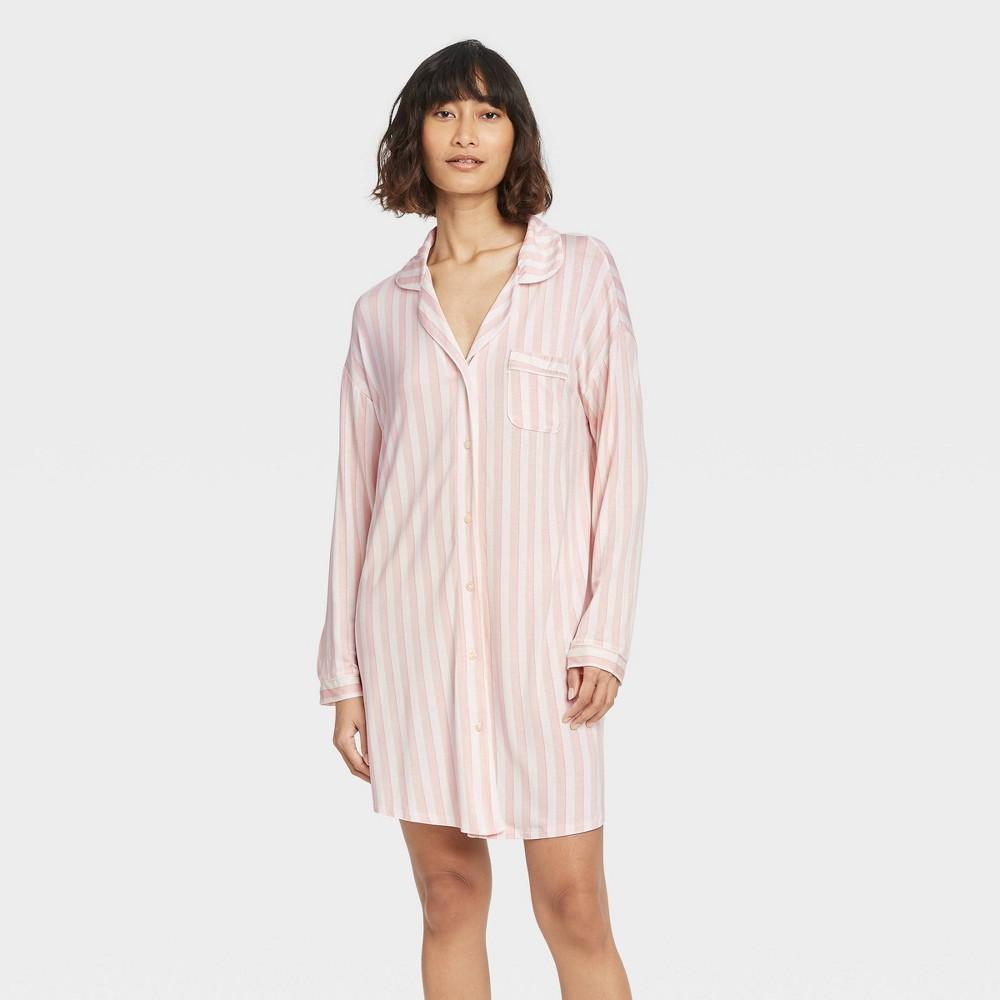 Women 39 S Striped Beautifully Soft Notch Collar Nightgown Stars Above 8482 Pink Xs