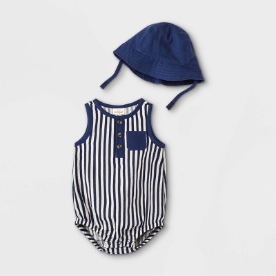 Baby Boys' Striped Gauze Romper with Hat - Cat & Jack™ Navy 6-9M