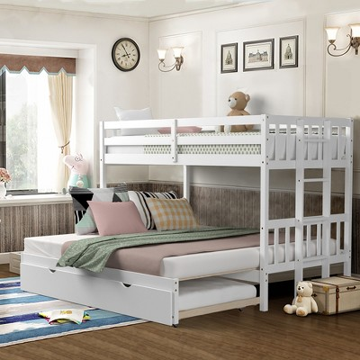 Costway Twin Over Twin Pull-Out Bunk Bed with Trundle Wooden Ladder White\Espresso