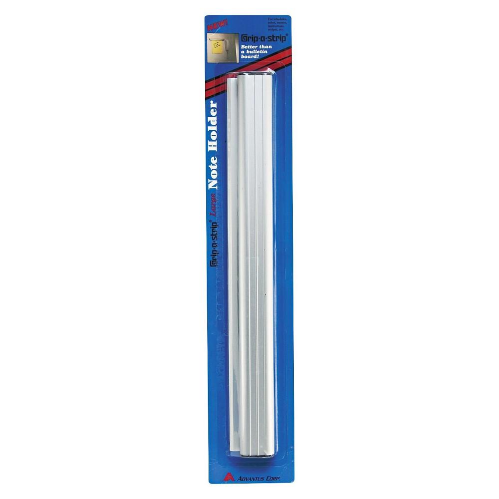 Advantus Grip-A-Strip Display Rail, 12 x 1 1/2, Aluminum Finish, White
