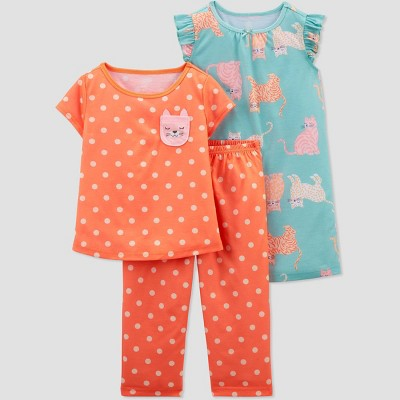 Toddler Girls' 3pc Cat Pajama Set - Just One You® made by carter's White/Blue/Gray