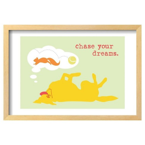 "Chase Dreams - Green & Yellow Version By Dog Is Good Framed Poster 19""X13"" - Art.Com - image 1 of 3"