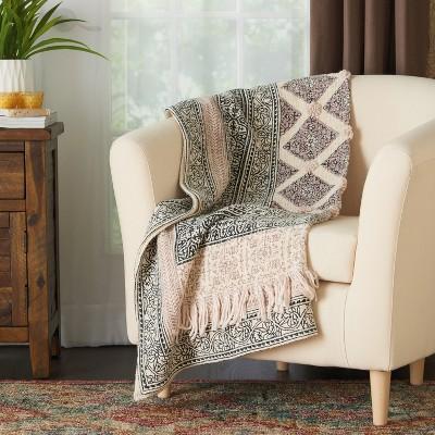 60 x50  Bohemian Embellished Stonewash Throw Blanket Natural - Mina Victory