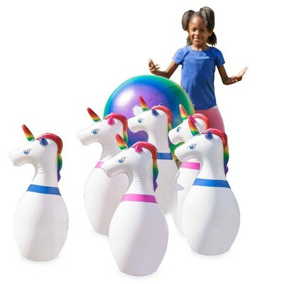 "HearthSong Giant Inflatable Unicorn Bowling Game with Six 29""L Unicorn Pins and 20"" diam. Multi-Colored Ball"