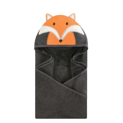 Hudson Baby Infant Cotton Animal Face Hooded Towel, Modern Fox, One Size