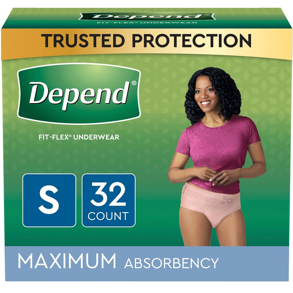 Depend Fit Flex Incontinence Underwear For Women Maximum Absorbency Small Blush 32ct