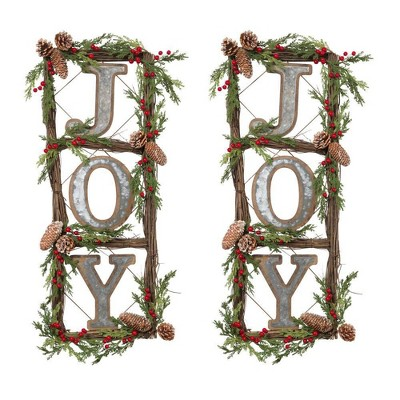 "35""/2pc Natural Twig Wreath Decorative Wall Sculpture - Gerson International"