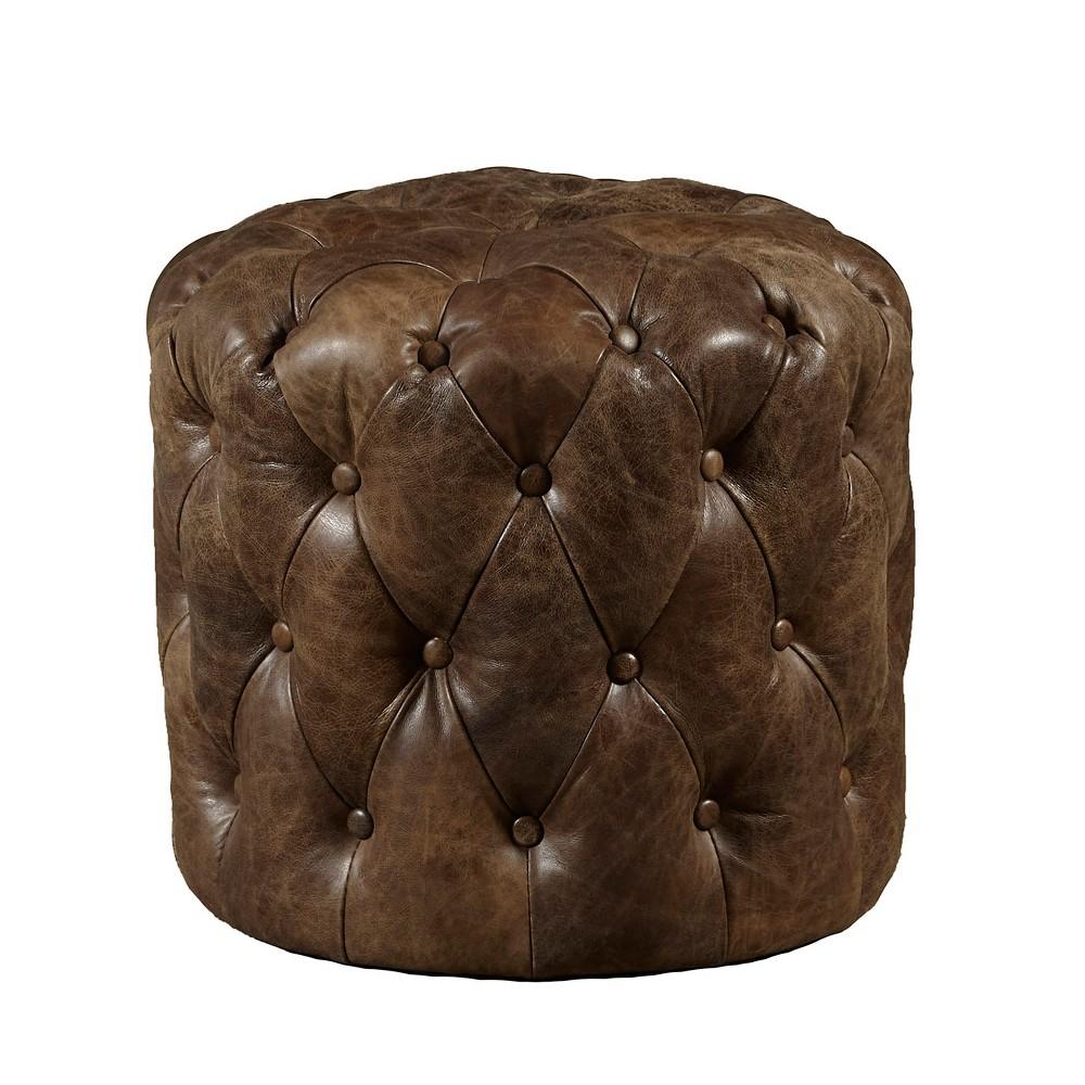 Amity Button Tufted Leather Storage Ottoman Brown - Pulaski