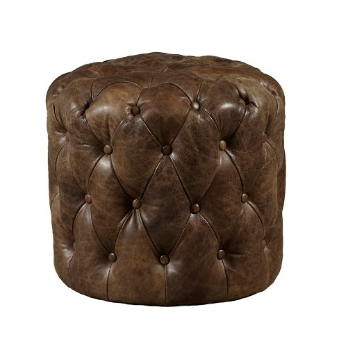 Amity Button Tufted Leather Storage Ottoman Brown - Pulaski - image 1 of 1