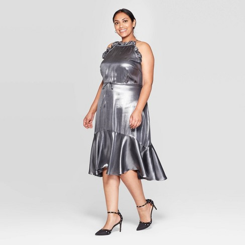 Women\'s Plus Size Sleeveless Halter Neck Midi Dress - Who What Wear™ Silver
