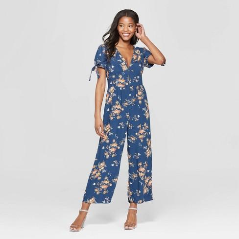 6f34ccc15e06 Women s Floral Print Short Sleeve V-Neck Button Front Jumpsuit - Xhilaration ™