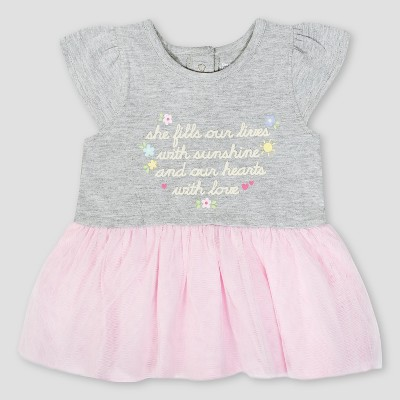 Gerber Baby Girls' Sunshine Dress with Tulle - Pink/Gray 0-3M