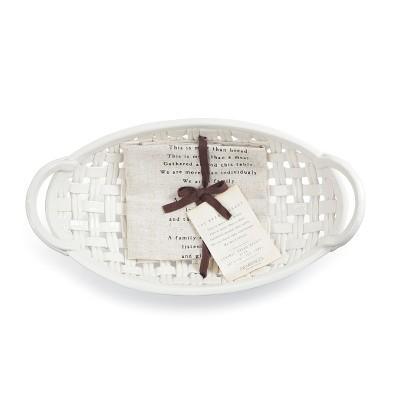 DEMDACO Ceramic Bread Basket with Towel 15 x 8 - White