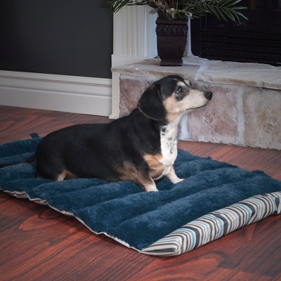 Petmaker Roll Up Travel Portable Dog Bed - Blue Stripe