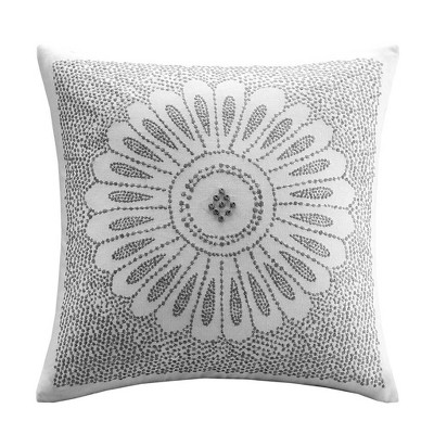 Sofia Embroidered Oversize Square Throw Pillow Gray