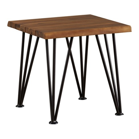 Zion Industrial Side Table - Teak/Rustic Metal - Christopher Knight Home