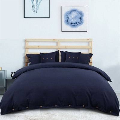 5 Pcs 110gsm Brushed Microfiber Solid Bedding Sets Queen Navy Blue - PiccoCasa