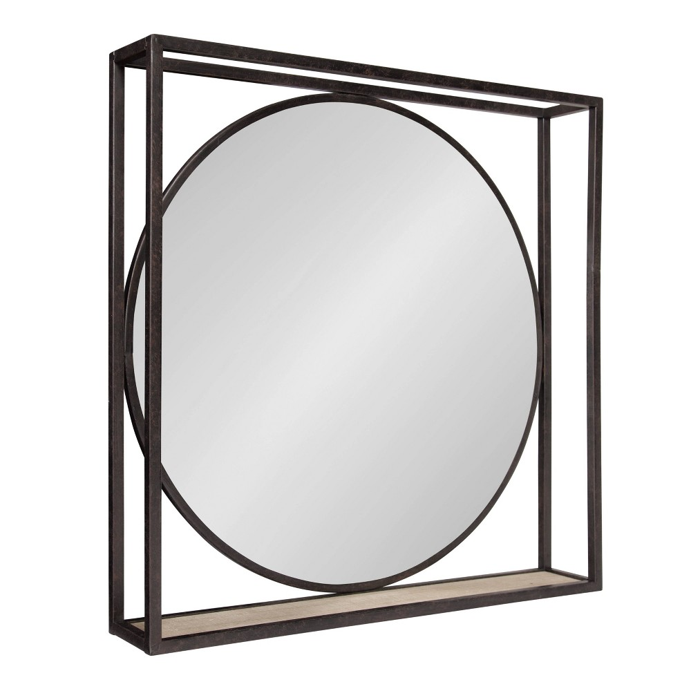 "Image of ""24""""x24"""" McCauley Decorative Metal Mirror with Shelf Bronze - Kate and Laurel"""