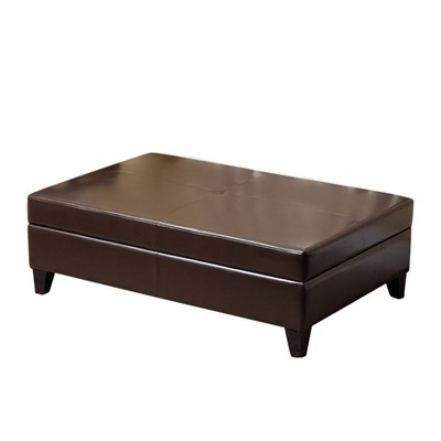 Dylan Bonded Leather Flip-Top Storage Ottoman Brown - Abbyson Living