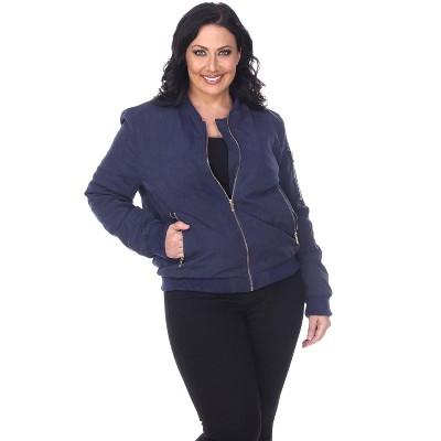 Women's Plus Size Bomber Jacket - White Mark