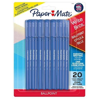 20pk Ballpoint Pens Capped Write Bros 1.0mm - PaperMate