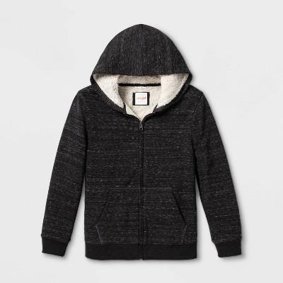 Boys' Sherpa Lined Full-Zip Hoodie - Cat & Jack™ Gray XS