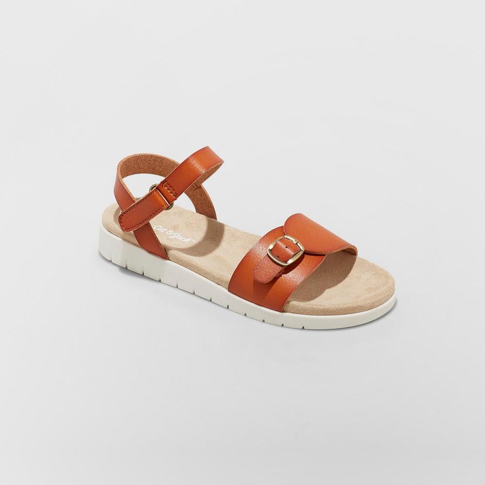 Girls' Armine Comfort Footbed Ankle Strap Sandals - Cat & Jack Brown 2