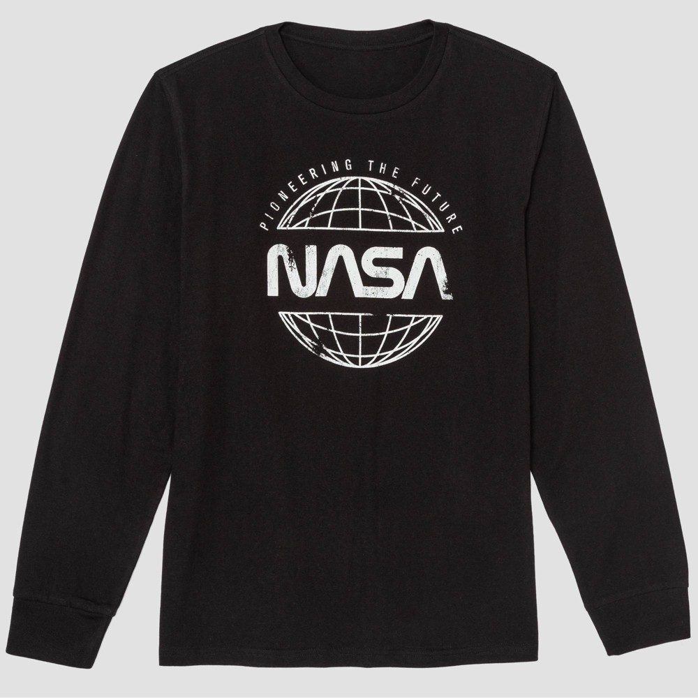 Image of Men's NASA Long Sleeve Graphic T-Shirt - Black S, Men's, Size: Small