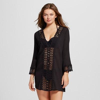 Women's Crochet Front Dress - Black - L - Mango Reef