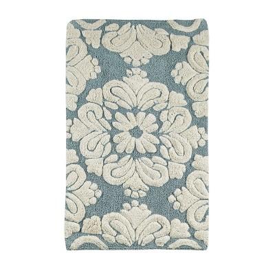 2pc Medallion Collection 100% Cotton Bath Rug Set Blue/Natural - Better Trends