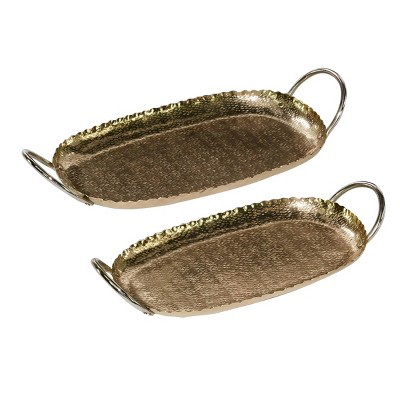 Set of 2 Oval Antique Aluminum Trays with Patterned Inlay Gold - Olivia & May