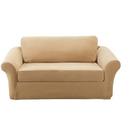 Stretch Rib 3 Piece Sofa Slipcover Oar Brown - Sure Fit : Target